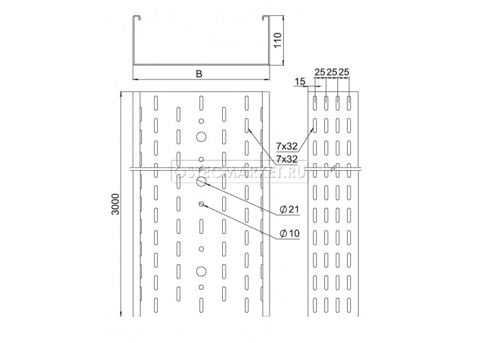 011410 Промышленный лоток кабельный перфорированный 400х110х3000 (2,0 мм) ПЛК(П)-400х110 (2 мм)