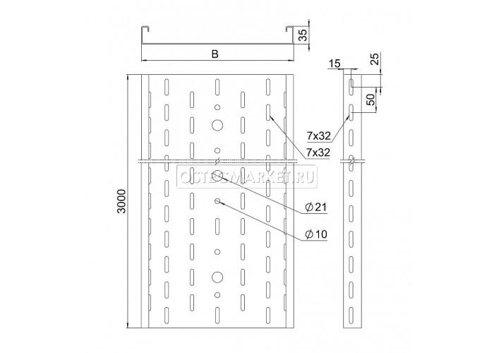 011130 Промышленный лоток кабельный перфорированный 100х35х3000 (2,0 мм) ПЛК(П)-100х35 (2 мм)