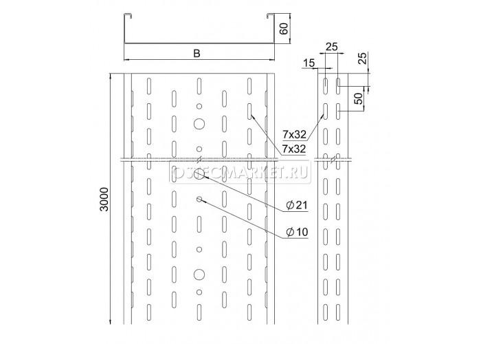 011160 Промышленный лоток кабельный перфорированный 100х60х3000 (2,0 мм) ПЛК(П)-100х60 (2 мм)
