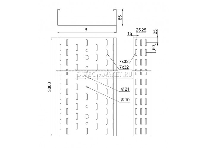 011680 Промышленный лоток кабельный перфорированный 600х85х3000 (2,0 мм) ПЛК(П)-600х85 (2 мм)