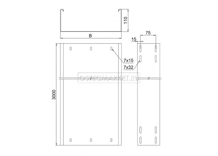 012410 Промышленный лоток кабельный неперфорированный 400х110х3000 (2,0 мм) ПЛК(Н)-400x110 (2 мм)