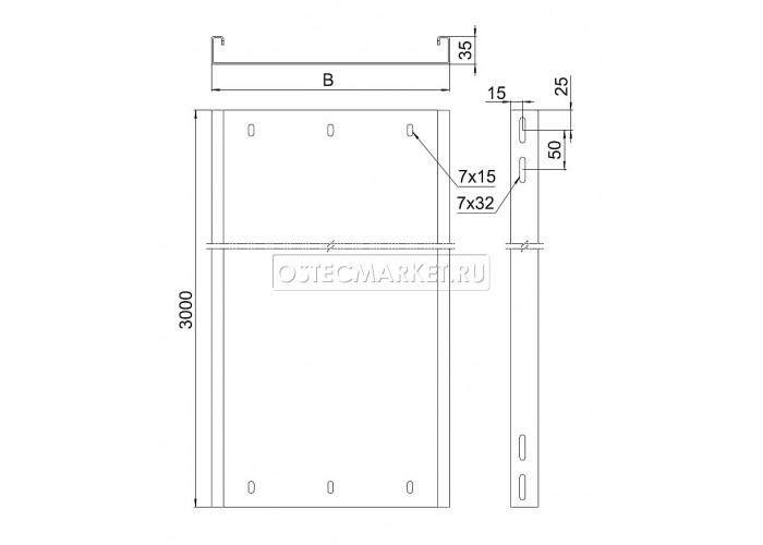 012230 Промышленный лоток кабельный неперфорированный 200х35х3000 (2,0 мм) ПЛК(Н)-200х35 (2 мм)