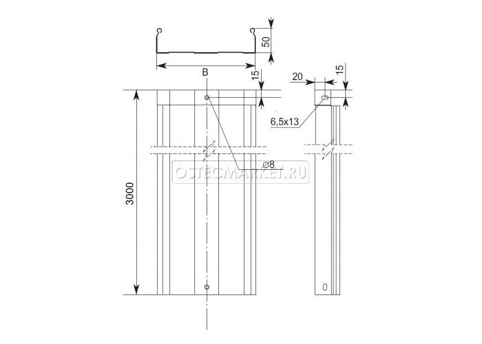 013155 Металлический лоток неперфорированный 100х50х3000 (0,55 мм) ЛНМЗТ(М)-100x50x3000
