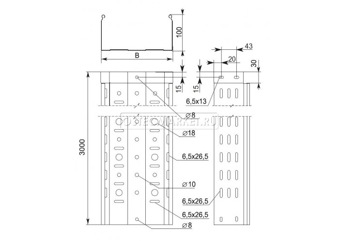 014110 Металлический лоток перфорированный 100х100х3000 (1 мм) ЛПМЗТ(М)-100x100x3000 (1 мм)