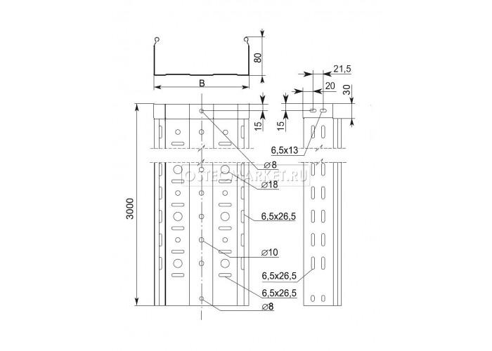 014188 Металлический лоток перфорированный 100х80х3000 (0,8 мм) ЛПМЗТ(М)-100x80x3000