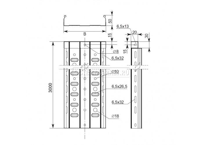 014557 Металлический лоток перфорированный 50х50х3000 (0,7 мм) ЛПМЗТ(М)-50x50x3000 (0,7 мм)