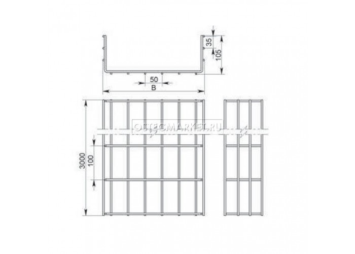 115215 Проволочный лоток 200х105х3000 (нержавеющая сталь) ПЛМн-200.105