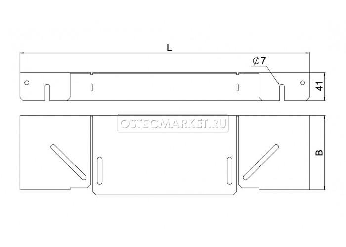 020013 Крышка к повороту горизонтальному регулируемому к лотку 100 (1,0 мм) КПГР-100