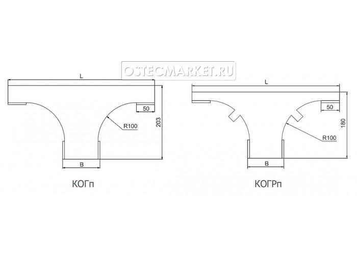 021811 Крышка к Ответвителю горизонтальному плавному 100 КОГп-100