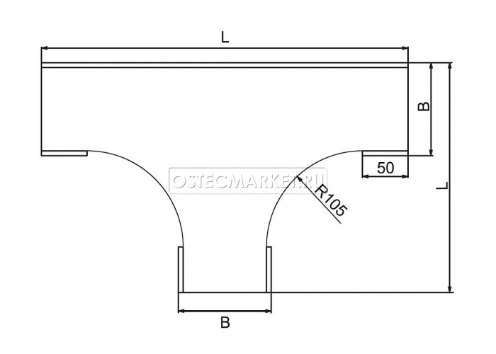 021911 Крышка к Т-отводу плавному к лотку 100 КТТп-100