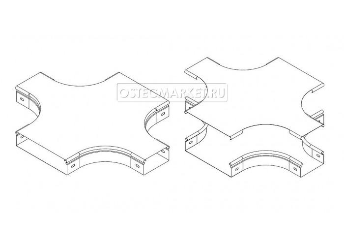 022111 Крышка к Разветвителю крестообразному плавному к лотку 100 КХТп-100