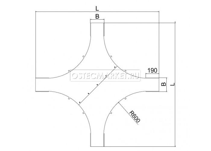 023936 Крышка к крестообразному разветвителю для лестничного лотка НЛО 300 (радиус поворота 600 мм) КХЛНЛО-300-600