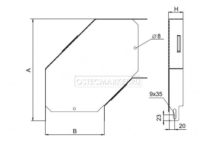 032228 Угловой соединитель плоский к лотку 200х80 УСП-200х80