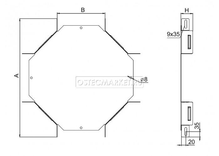032438 Угловой соединитель крестообразный к лотку 300х80 УСХ-300х80