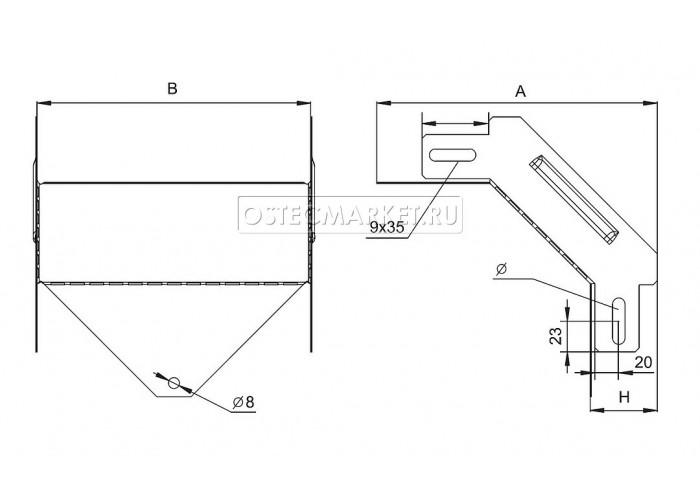 032635 Угловой соединитель внешний к лотку 300х50 УСВ-300х50