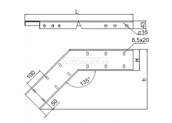 036621 Вертикальный соединитель внешний 135 град. для лестничного лотка ЛКР высотой 200 мм ВСВЛКР-200 (135 град.)