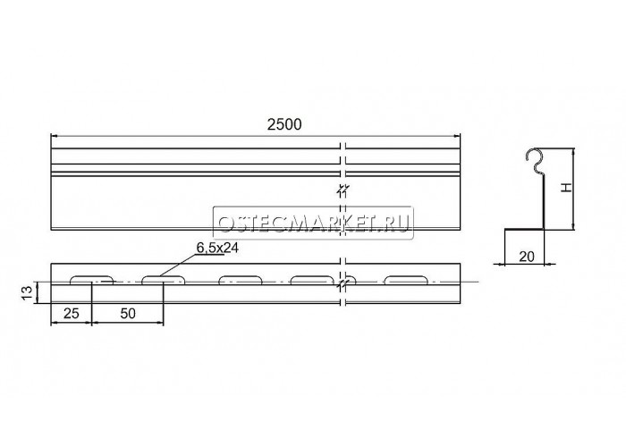040111 Перегородка в лоток В100мм (длина 2,5м) ПЛПТ-100