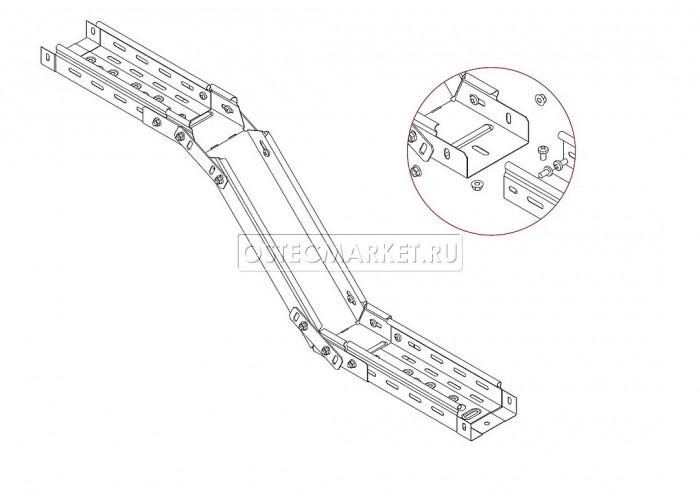 042111 Поворот вертикальный регулируемый 100х100 (1,0 мм) ПВР-100х100