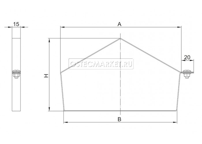 044148 Хомут двускатной крышки лотка универсальный 400х80 ХДКУ-400x80