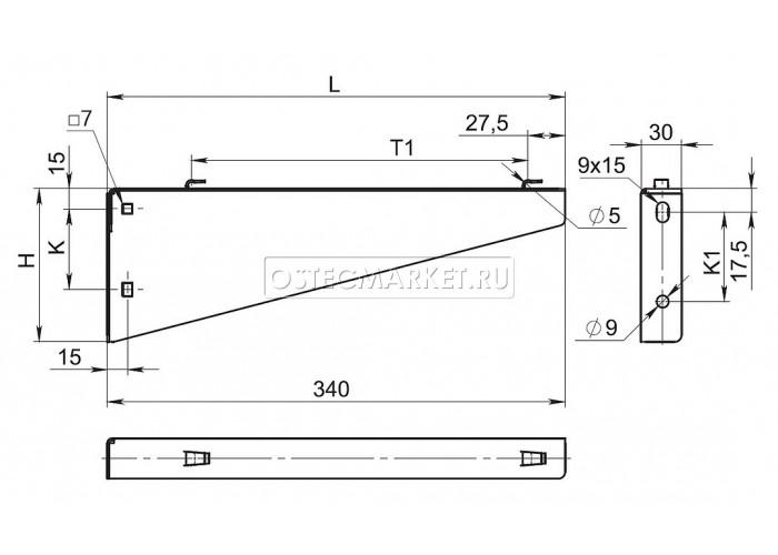 052721 Кронштейн настенный для проволочного лотка безвинтовой 200 мм КНПЛБ-200