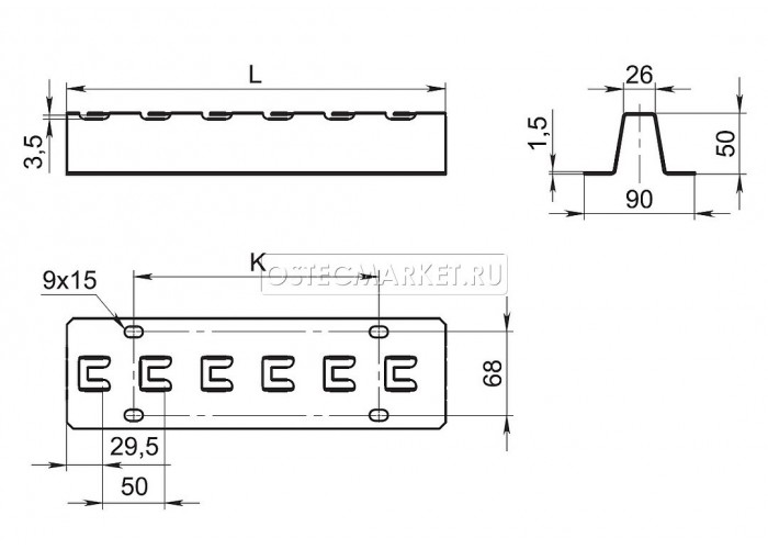053451 Напольно-настенный держатель 500 мм ННД-500