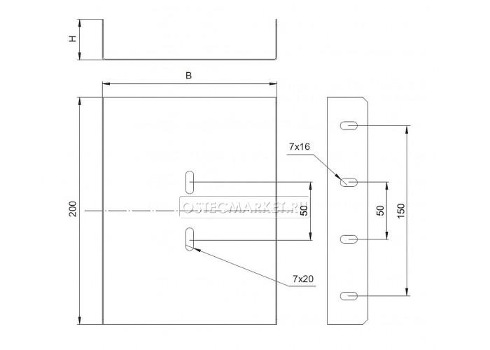 081911 Соединитель боковой к лоткам УЛ 100х100 (1,2 мм) СЛБ-100x100 (1,2 мм) УЛ