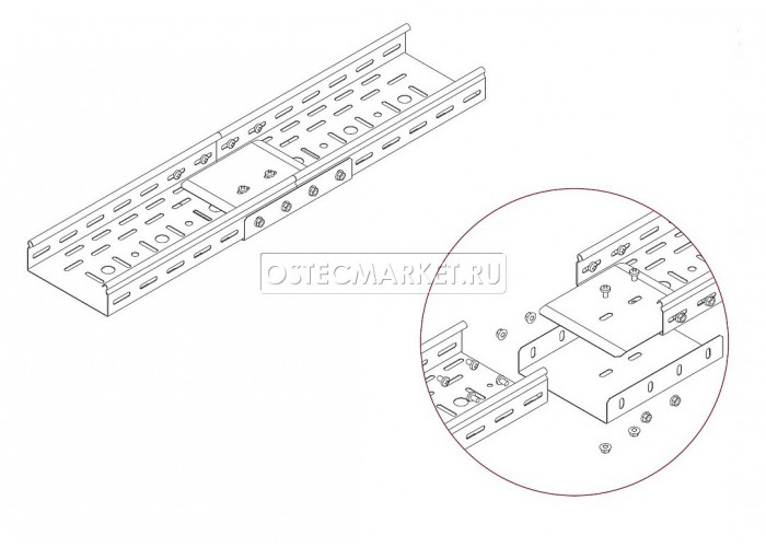 081918 Соединитель боковой к лоткам УЛ 100х80 (1,2 мм) СЛБ-100х80 (1,2 мм) УЛ