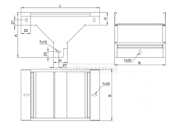 080211 Ответвитель Т-образный вертикальный к лотку 100х100 ОТВ-100x100