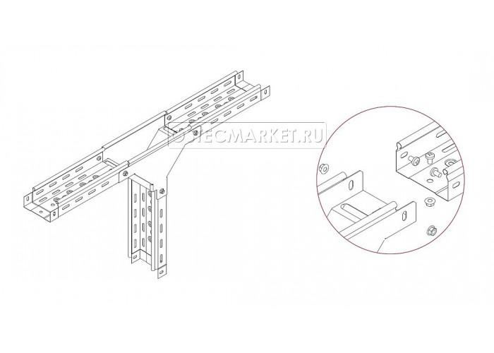 080211 Ответвитель Т-образный вертикальный к лотку 100х100 ОТВ-100х100