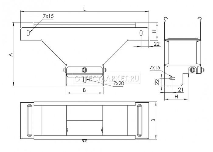 080411 Ответвитель Т-образный вертикальный боковой  к лотку 100х100 ОТВБ-100x100