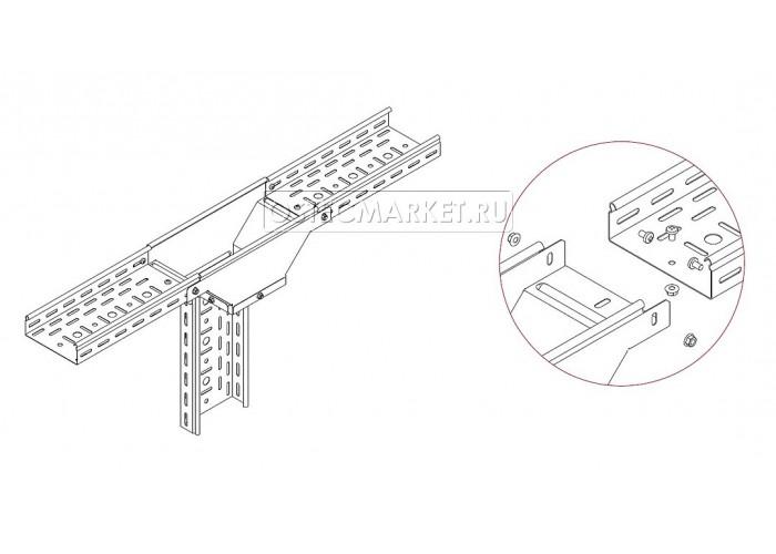080411 Ответвитель Т-образный вертикальный боковой  к лотку 100х100 ОТВБ-100х100