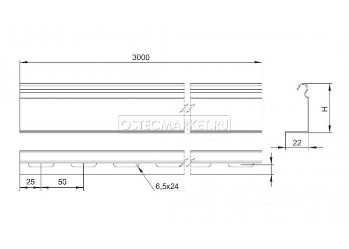 081665 Перегородка универсальная в лоток УЛ 65х3000 ПЛПТ-65 УЛ