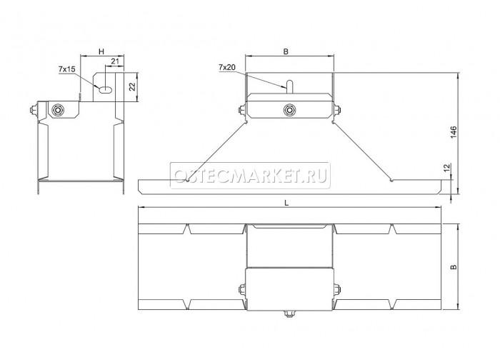 086210 Крышка-ответвитель вертикальный боковой к лотку 100х100 КОВБ-100х100