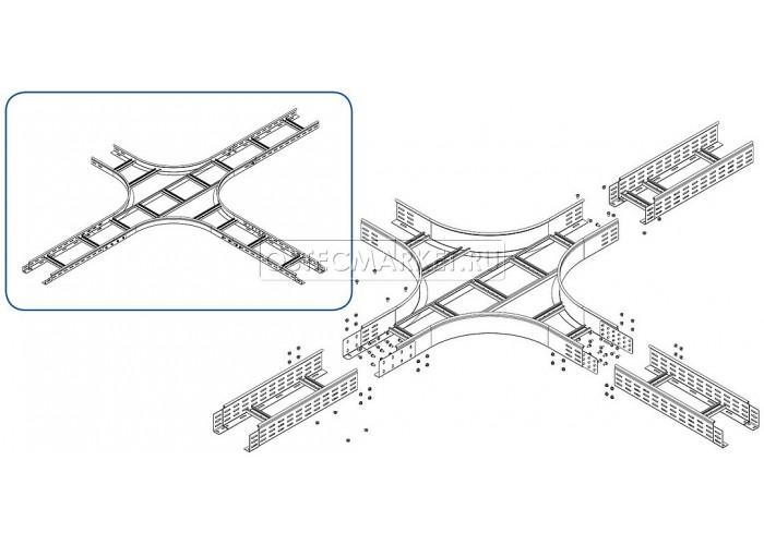 033321 Крестообразный разветвитель для лестничного лотка НЛО 200х100х3000 ХЛНЛО 200х100