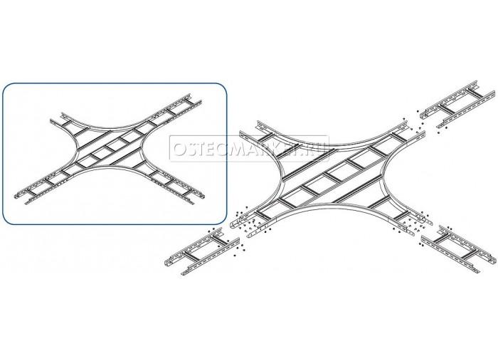 035935 Крестообразный разветвитель для лестничного лотка НЛО 300х50х3000 (радиус поворота 600 мм) ХЛНЛО 300х50-600