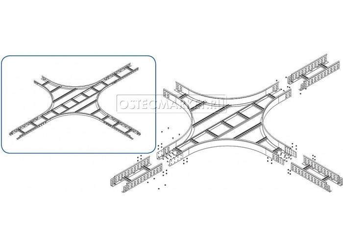 035961 Крестообразный разветвитель для лестничного лотка НЛО 600х100х3000 (радиус поворота 600 мм) ХЛНЛО 600х100-600