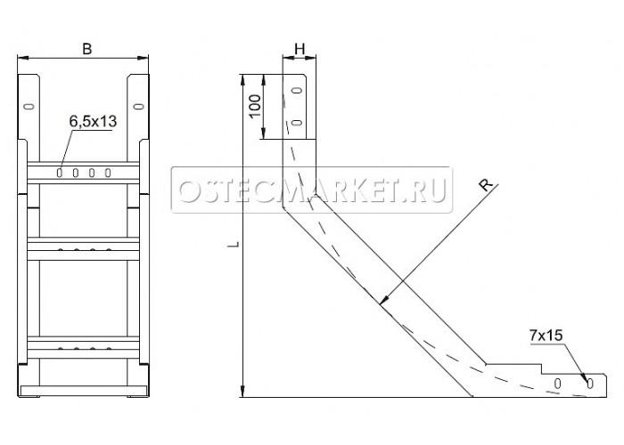 089048 Угол внутренний для лестничного лотка НЛО 400х80 УВННЛО-400х80