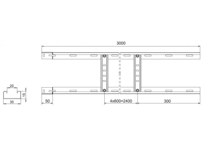 017451 Вертикальный лестничный лоток для легких нагрузок 400х50х3000 ВЛЛ(ЛН) 400х50