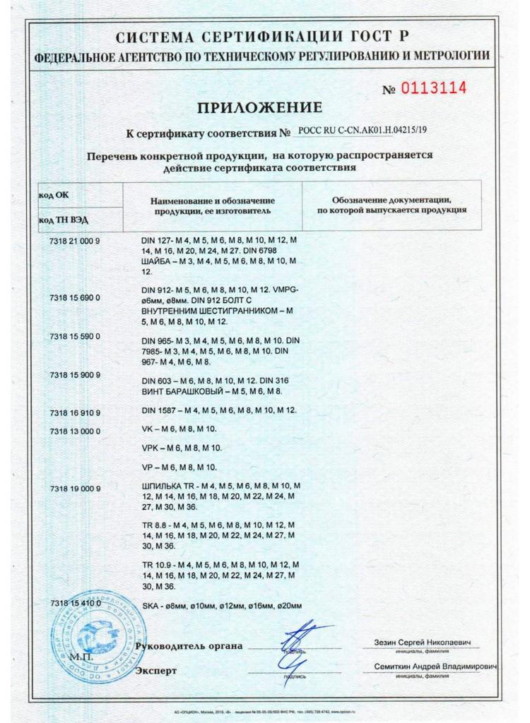 Сертификат на Метизы